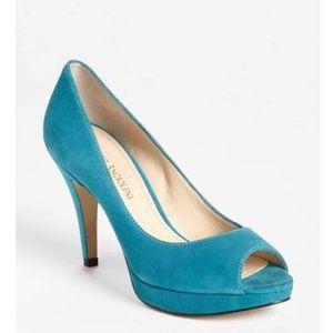 Blue Sude Peep Toe Pumps
